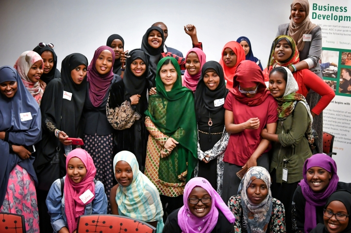 Malala with Somali women